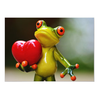 Red Heart Valentine Green Frog Card