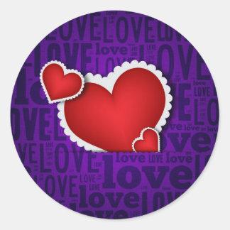 Red heart valentine s day classic round sticker