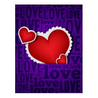 Red heart valentine s day postcard