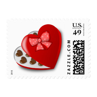 Red Heart Valentines Chocolate Candy Box Stamp