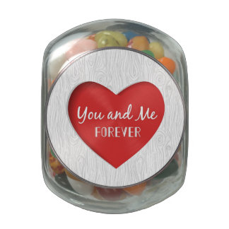 Red Heart Valentine's Day Card Glass Candy Jar
