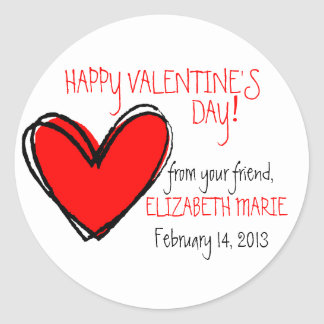 Red Heart-Valentine's Day Classic Round Sticker