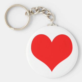 Red Heart Valentines Day Design Basic Round Button Keychain