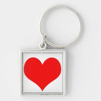 Red Heart Valentines Day Design Silver-Colored Square Keychain