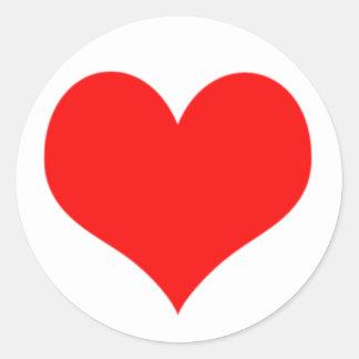 Red Heart Valentines Day Design Round Stickers