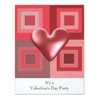 Red Heart Valentines Day Invitation