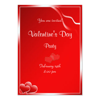 """Red heart Valentine's Day Party 5"""" X 7"""" Invitation Card"""