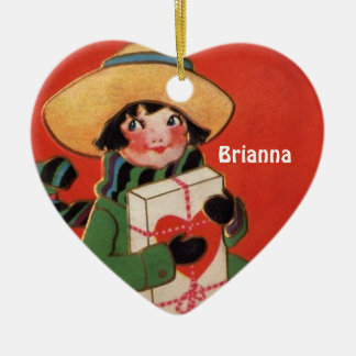 Red Heart Vintage Little Girl in Hat Ornament