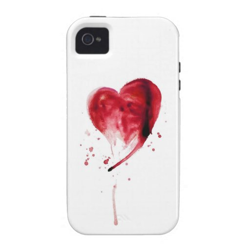 Red Heart Watercolor iPhone 4/4S Cover