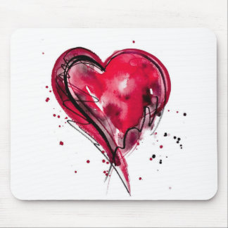 Red Heart Watercolor Mouse Pad