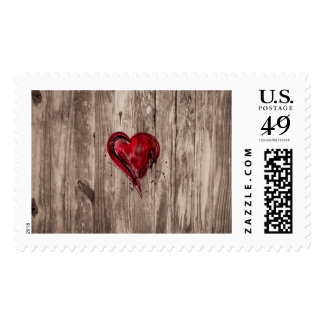 Red Heart Watercolor on Wood Postage Stamps