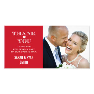 Red Heart Wedding Photo Thank You Cards Picture Card