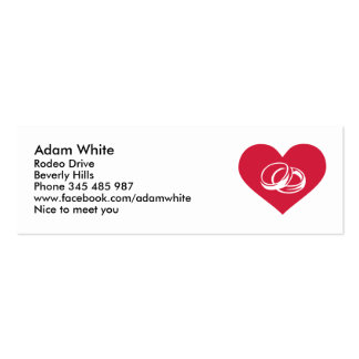 Red heart wedding rings Double-Sided mini business cards (Pack of 20)