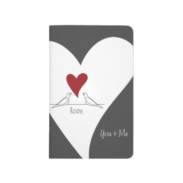 Bride Themed Red Heart White Doves In Love Modern Personalized Journal