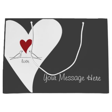 Bride Themed Red Heart White Doves In Love Modern Personalized Large Gift Bag
