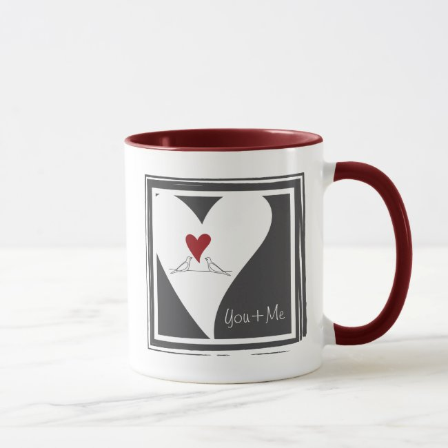 Red Heart White Doves in Love Modern Personalized