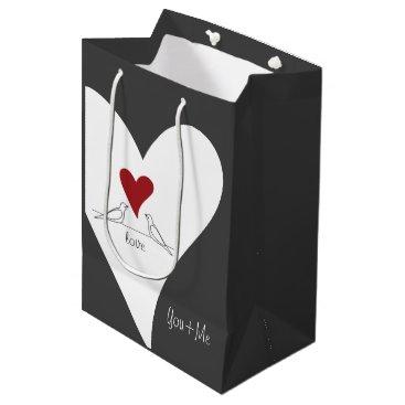 Wedding Themed Red Heart White Doves In Love Rustic Modern Custom Medium Gift Bag
