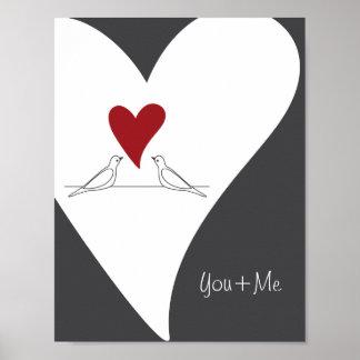 Red Heart White Doves In Love Rustic Modern Custom Poster