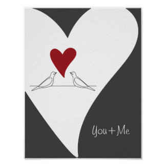 Red Heart White Doves in Love Rustic Modern Poster