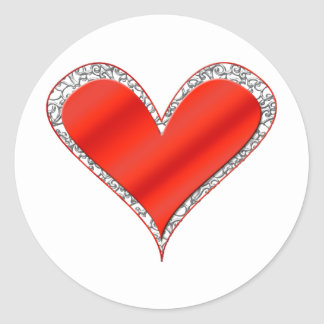 Red heart_white lace trim classic round sticker
