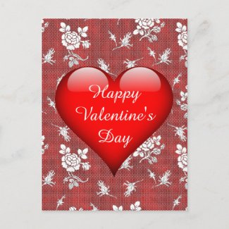 Red Heart, White Lace Valentine Holiday Postcard
