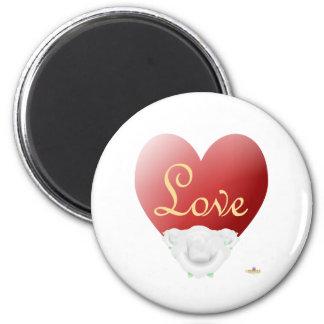 Red Heart White Roses Love Fridge Magnet