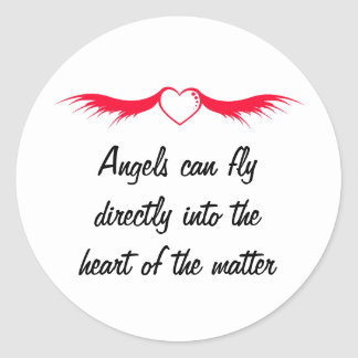Red Heart Wings Classic Round Sticker