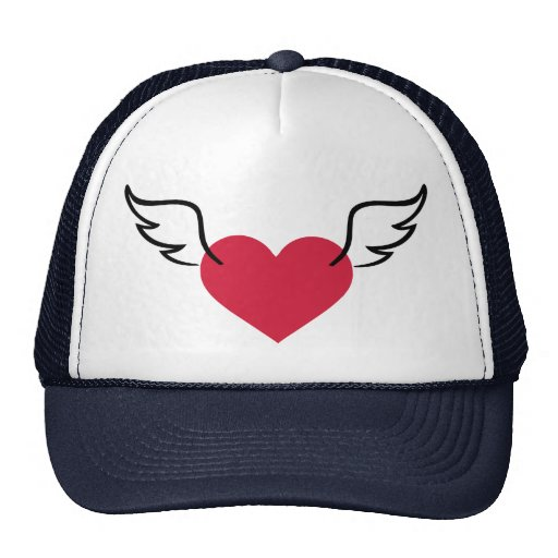 Red heart wings mesh hats