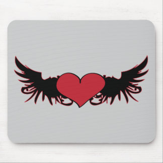 Red Heart & Wings Mousepad