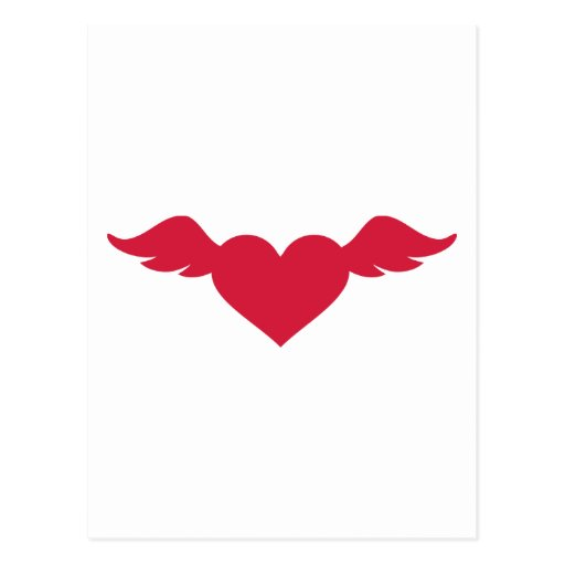 Red heart wings post cards