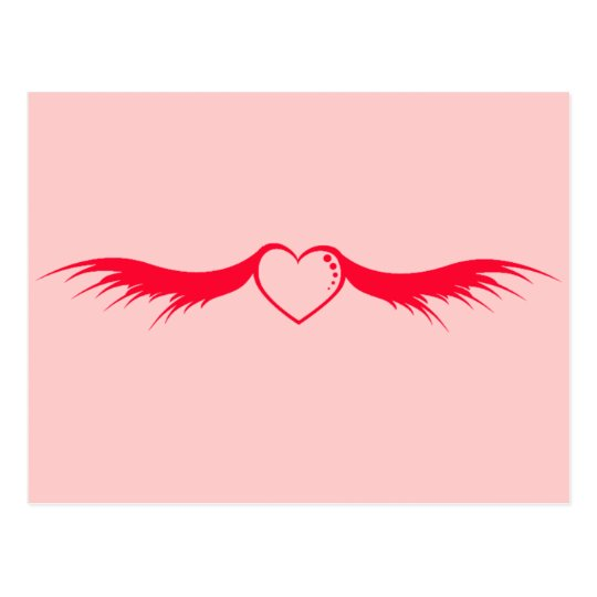 Red Heart Wings Postcard