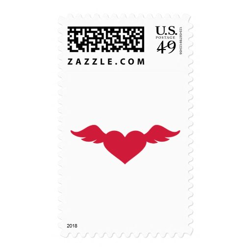 Red heart wings stamps