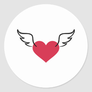 Red heart wings round stickers