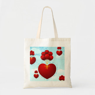 Red heart with balloons, bag