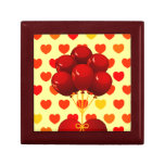 Red heart with balloons, gift box