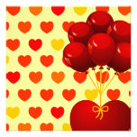 Red heart with balloons, invitation