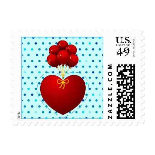 Red heart with balloons, stamp