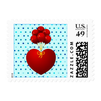 Red heart with balloons stamp
