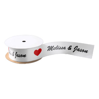 Red Heart With Custom Wedding Couple Names Satin Ribbon