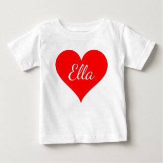 """""""Red Heart with customizable name"""" Baby T-Shirt"""