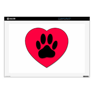 """Red Heart With Dog Paw Print 17"""" Laptop Decal"""