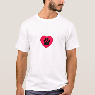 Red Heart With Dog Paw Print T-Shirt