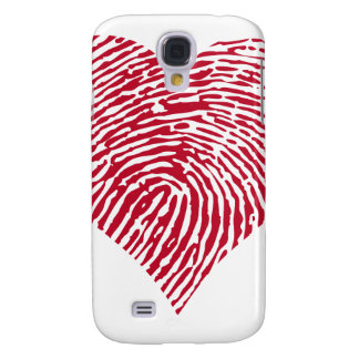 Red heart with fingerprint pattern galaxy s4 cases