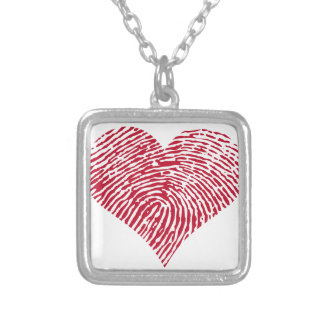 Red heart with fingerprint pattern silver plated necklace