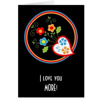 Red heart with flowers greeting card