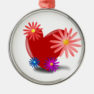Red Heart with Flowers On It Metal Ornament