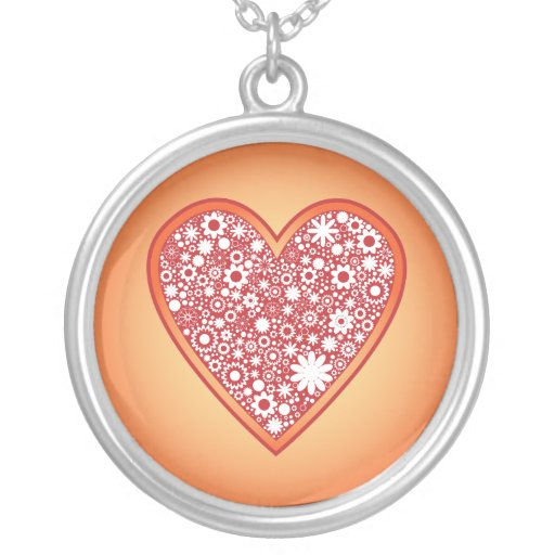 Red heart with flowers pendants
