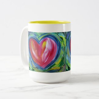 Red Heart with Hope Art Custom Coffee Cups