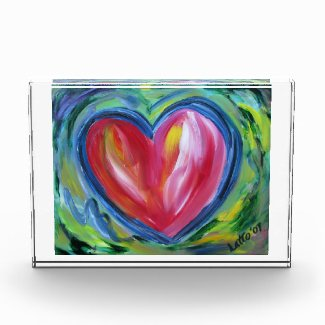 Red Heart with Hope Art Painting Paperweight Acrylic Award