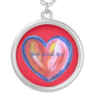 Red Heart with Hope Art Pendant Charm Necklace
